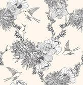 Patrón transparente transparente patrón floral con flores y pájaros. — Vector de stock