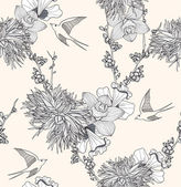 Seamless floral pattern Seamless pattern with flowers and birds. — Stok Vektör