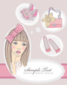 Fashion girl dreaming about bags and shoes. Vector illustration. — 图库矢量图片
