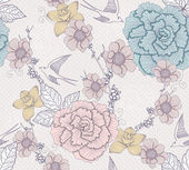 Seamless floral pattern. Seamless pattern with flowers and birds — Stok Vektör