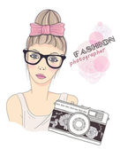 Fashion girl photographer vector background. Retro camera background. — Vettoriale Stock