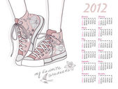 2012 calendar with shoes. Shoes with floral pattern. — Stock Vector