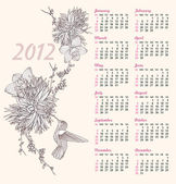 2012 calendar with floral pattern. Background with flowers. — Stock Vector