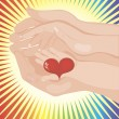 Baby's hand holding a heart between parents' — Stock Vector