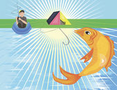 En stor gyllene fisk som hoppar ur floden — Stockvektor