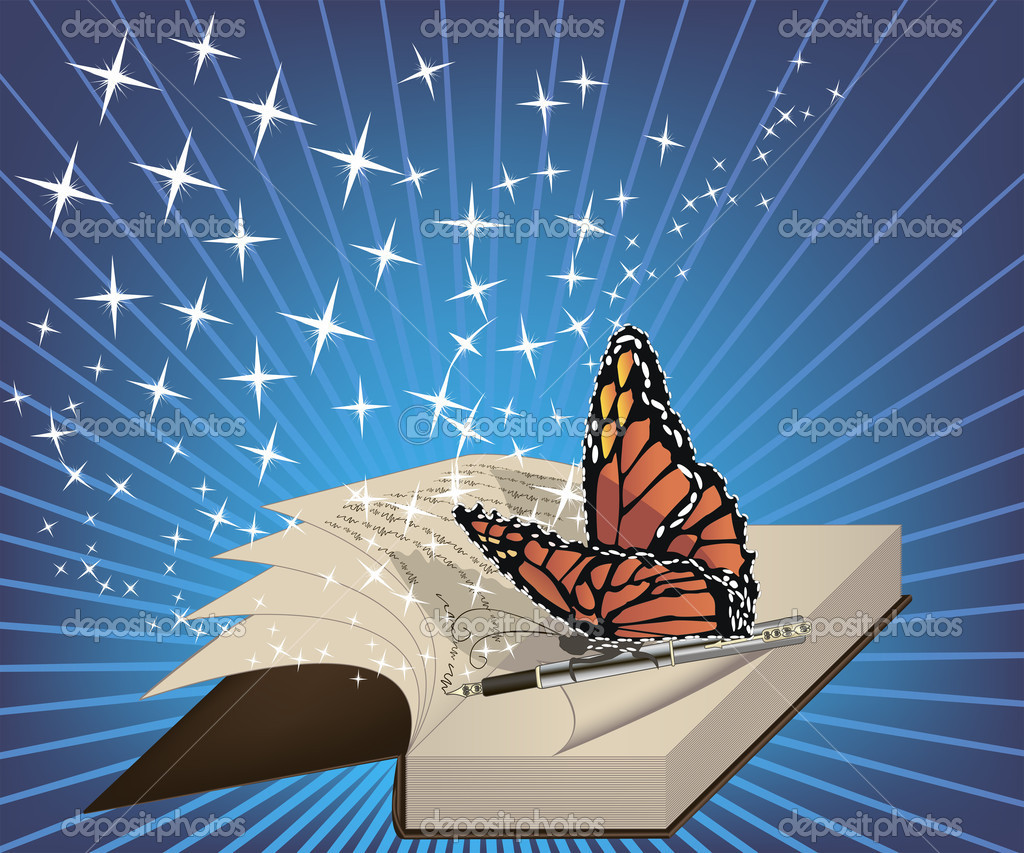 A book with a a written poem and a butterfly on a pen — Stock Vector #7794256