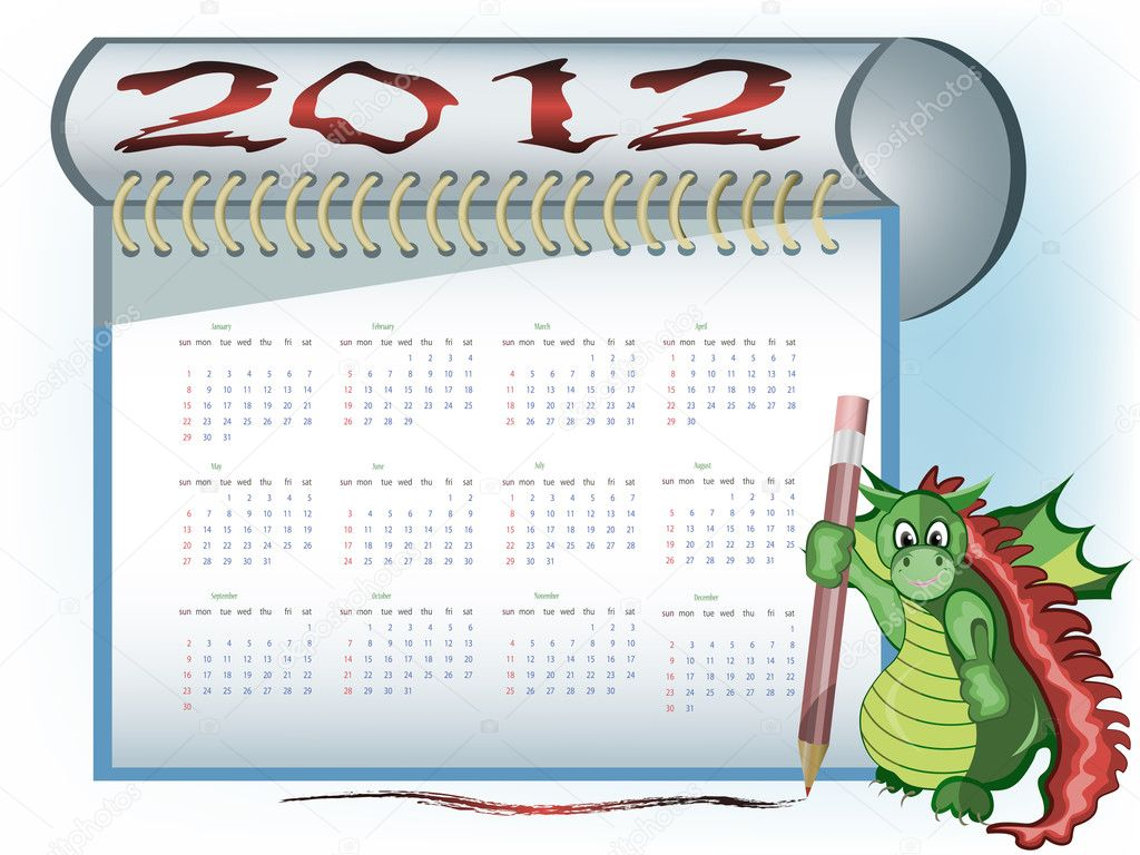 A dragon with 2012 calendar in notebook and show gesture with thumb up — Stock Vector #7935128