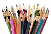 A lot of art pencils sharpened colored paint — Stock Photo