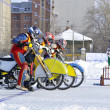 Winter speedway on the ice, start — Stock Photo