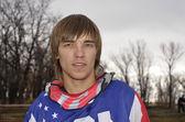 Pilota di motocross si presenta nella fotocamera — Foto Stock
