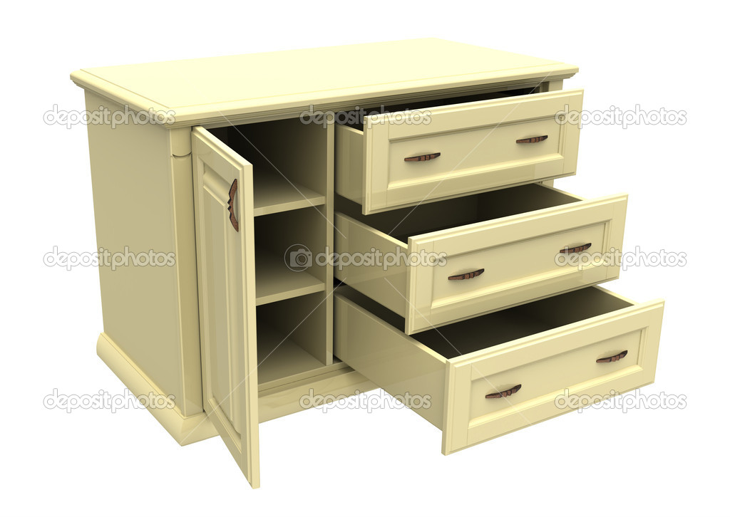 3d render of  wooden dresser on a white background — Stock Photo #7222145