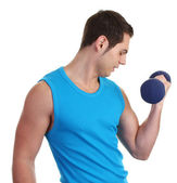 A guy with a dumbell — Stock Photo