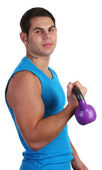 Guy with weight — Stock Photo