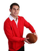 Guy with rugby ball — Stock Photo