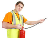 Guy with fire extinguisher — Foto de Stock