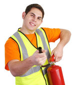 Guy with fire extinguisher — Stock Photo