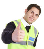 Thumbs up security guard — Stock Photo