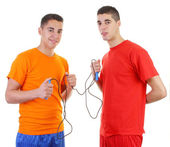 Two guys with a skipping rope — Stock Photo
