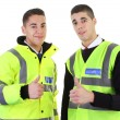 Stock Photo: Two security guards thumbs up