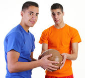 Two guys with a medicene ball — Foto Stock