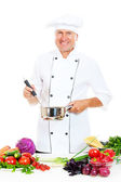 Chef in uniform holding pot and spoon — Stock Photo