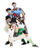 Vier mimen auf weißem hintergrund — Stockfoto