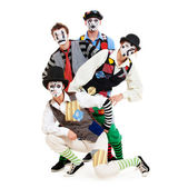 Portrait of motley mimes — Stock Photo