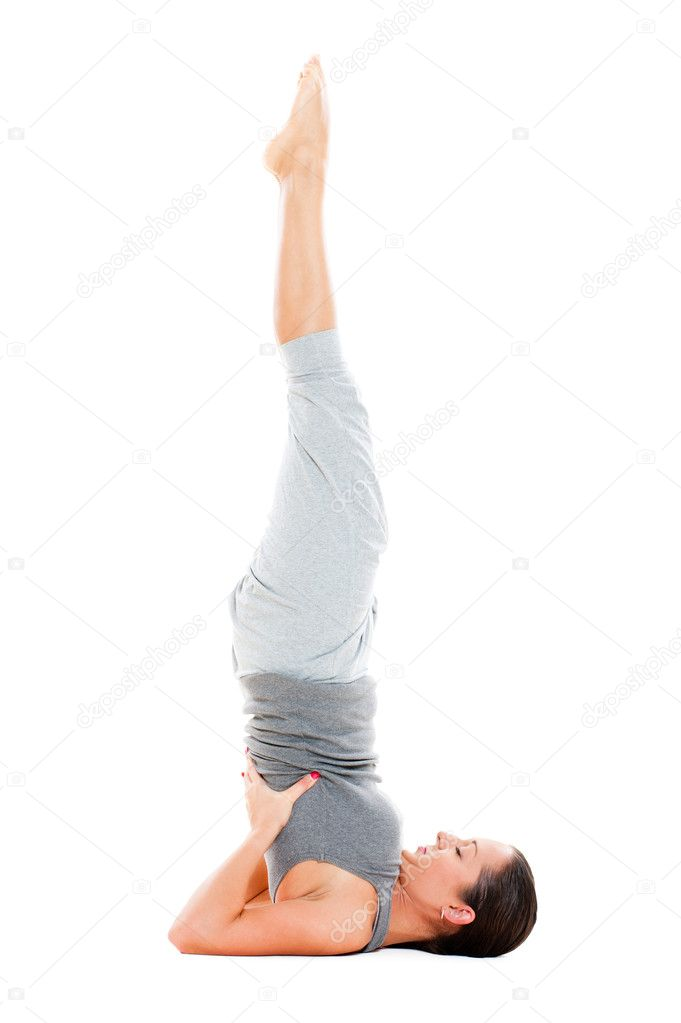 Female doing yoga exercise on floor stock photo for Floor yoga stretches