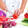 Cook preparing salad — Stock Photo #6957985