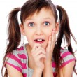 Funny little girl pull faces — Stock Photo #7226822