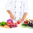 Photo of cook preparing salad — Stock Photo #7226850