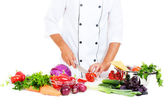 Photo of cook preparing salad — Stock Photo