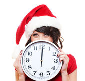 Santa girl with clock — Stock fotografie