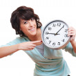 Cheerful young woman with clock — Stock Photo #7673055