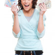 Excited woman holding money in her hands — Stock Photo #7673057