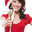 Happy santa girl with glass — Stock Photo