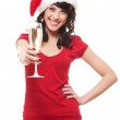 Portrait of attractive santa girl with glass — Stock Photo #7673069