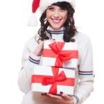 Santa girl holding boxes of presents — Stock Photo #7673074