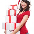 Santa girl holding many boxes — Foto de Stock