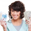 Smiley young woman holding dollars and euro — Stock Photo #7673079