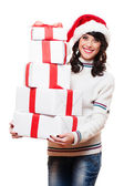 Girl holding many boxes of presents — Stock Photo