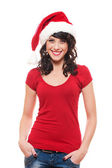 Young woman in red santa's hat — Stock Photo