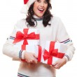 Amazed happy woman in santa hat — Stock Photo #7762814
