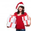 Happy santa girl holding many boxes with presents — Stock Photo #7762820