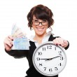 Smiley young woman holding money and clock — Stock Photo