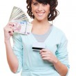 Woman holding paper money and plastic card — Stock Photo #7762863