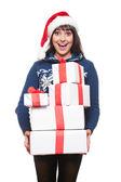 Happy amazed woman holding many boxes — Stock Photo