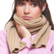 Sad woman in scarf have a flu — Stock Photo