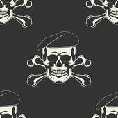 无缝的贝雷帽在头骨会徽 — 图库矢量图片