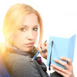 Woman with notebook. close up — Stock Photo #6974133